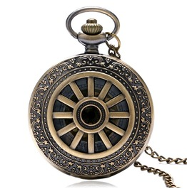 Vintage Bronze Retro Wheel Pocket Watch