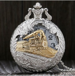 Vintage Gold Silver Tone Steam Train Pocket Watch
