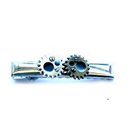 Steampunk Gears Tie Clip Men's Tie Bar Handmade Gift By Aunt Matilda