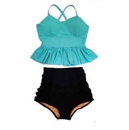 Women Midkini Cyan Aquamarine Long Peplum Top & Black High Waisted Swimsuit