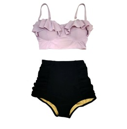 Women Lilac Lavender Top Top & Black High Waisted Swimsuit Midkini S M L Xl
