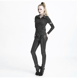 Ladies Black Gothic Military Snap Buckle Strap Punk Shirt Removable Sleeves