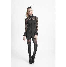 Black Lace Gothic High Collar Blouse Romantic Vampire Frilly Shirt Top