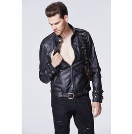 Mens Black Faux Leather Punk Bullet Buckle Jacket Vegan Pleather Coat