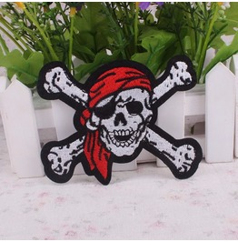 Steampunk Iron On Biker Patches Pirate Skeleton