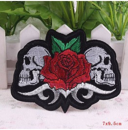 Steampunk Iron On Biker Patches Red Rose Skull Head