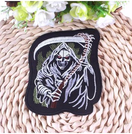 Steampunk Iron On Biker Patches Skeleton Holding Sickle