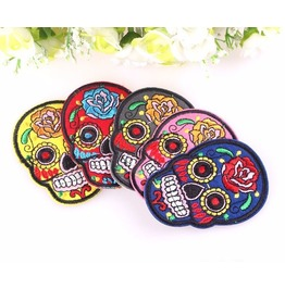 Steampunk Iron On Biker Patches Colorful Skull 10 Pc. Lot