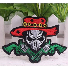 Steampunk Iron On Biker Patches Skull And Guns