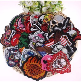 Steampunk Iron On Biker Patches Assorted 16 Pc. Lot