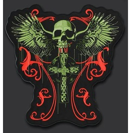 Steampunk Biker Patches Green Head Skull Cross