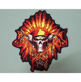 Steampunk Biker Patches Large Red Flame Skull