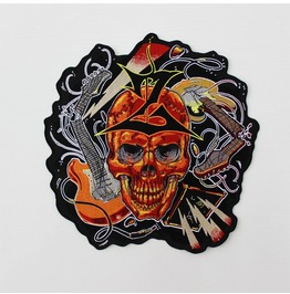 Steampunk Biker Patches Large Guitar Skull