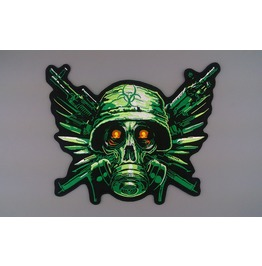 Steampunk Biker Patches Large Green Skull Soldier