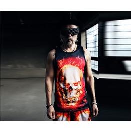 Fire Skull Printing Mesh Sleeveless Shirts