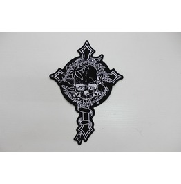 Steampunk Biker Patches Large Black Skull Cross