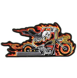 Steampunk Biker Patches Large Inflame Skull Riding Bike