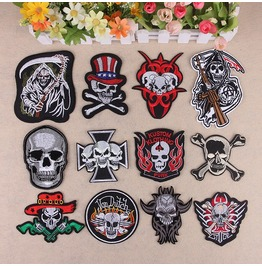 Steampunk Iron On Biker Patches Assorted 12 Pc. Lot D3
