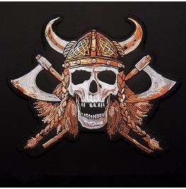 Steampunk Iron On Biker Patches Double Axe Viking Skull
