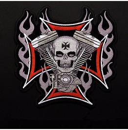 Steampunk Iron On Biker Patches Cross Skull