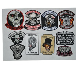 Steampunk Iron On Biker Patches Assorted 10 Pc. Lot D4