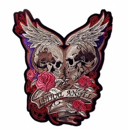 Steampunk Biker Patches Large Red Rose Double Head Skull