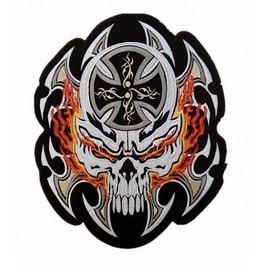 Steampunk Biker Patches Large Flame Blade Skull