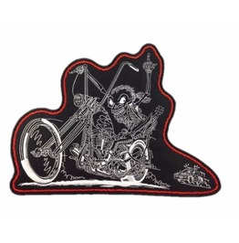 Steampunk Biker Patches Large Skeleton Riding Chopper
