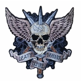 Steampunk Biker Patches Large Three Dagger Stapping Skull