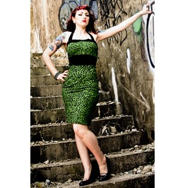 Green Leopard Rockabilly Dress