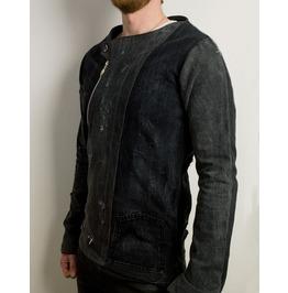 Futuristic Distressed Asymmetrical Black Denim Jacket