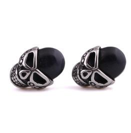 Steampunk Black Beads Skull Stud Earrings