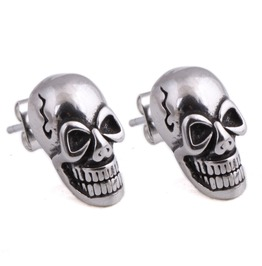 Steampunk Grinning Skull Stud Earrings