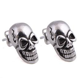 Steampunk Grinning Skull Stud Earrings