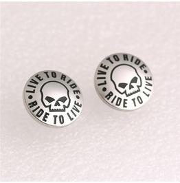 Steampunk Round 15mm Skull Stud Earrings 2 Prs. Lot