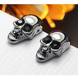 Steampunk Black Gem Eye Skull Stud Earrings