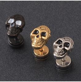 Steampunk Screw Back Black Bead Eye Skull Stud Earrings