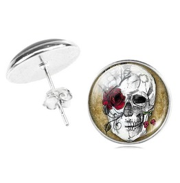 Steampunk Red Rose Eye Skull Stud Earrings