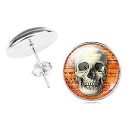 Steampunk Skull Stud Earrings