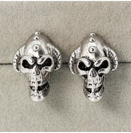 Steampunk Horn Skull Stud Earrings
