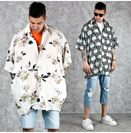 Flower Patterned Silket Boxy Shirts 132