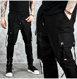 Multiple Strap Accent Cargo Pocket Black Sweatpants 181