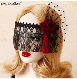 Hallowmas Black Lace Red Rose Gothic Mask Handband