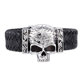 Steampunk Large Skull Weave Leather Bracelet