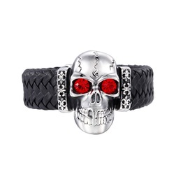 Steampunk Large Red Eyes Skull Weave Leather Bracelet