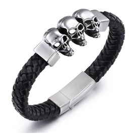 Steampunk Three Skull Head Weave Leather Bracelet