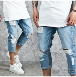 Distressed Basic Blue Denim Crop Jeans 219
