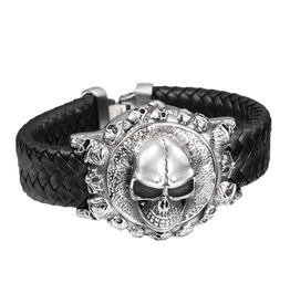 Steampunk Large Ornate Skull Weave Leather Bracelet