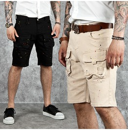 Splash Paint Accent Cotton Cargo Shorts 54