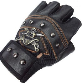 Steampunk Half Finger Metal Skull Rivets Pu Leather Bike Gloves